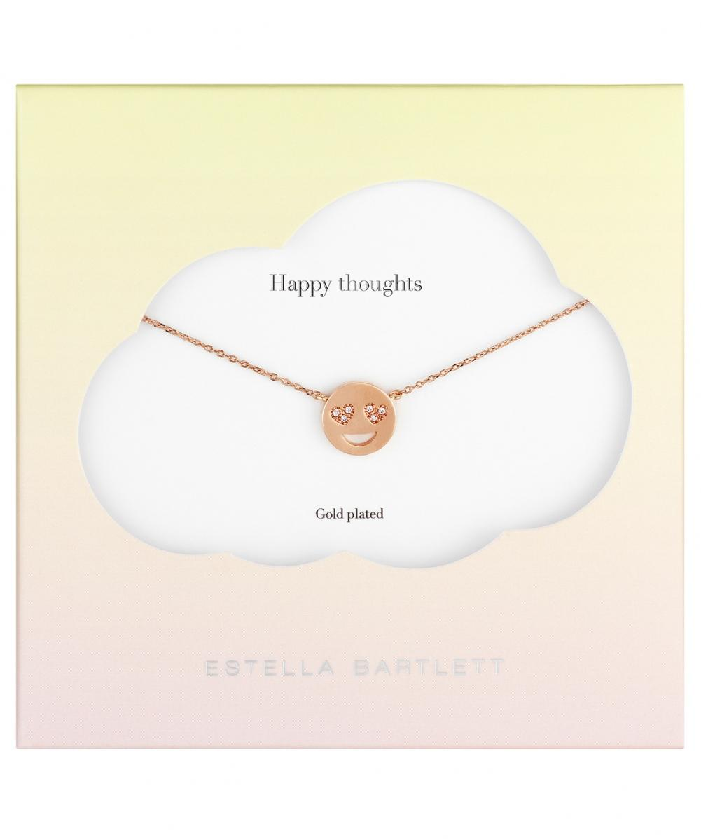 Estella Bartlett Heart Eyes Emoji Necklace in Rose Gold (Pink)