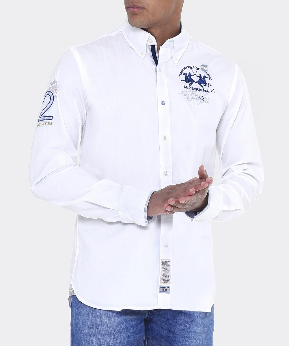 La Martina Cotton Regular Fit Humphry Shirt in White for Men