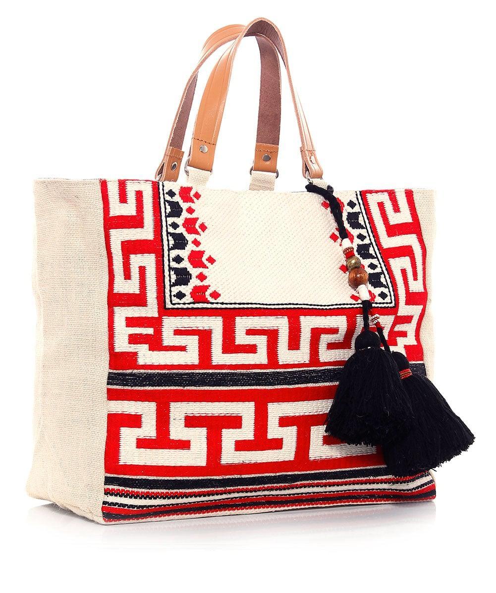 Star Mela Leather Embroidered Myra Tote Bag