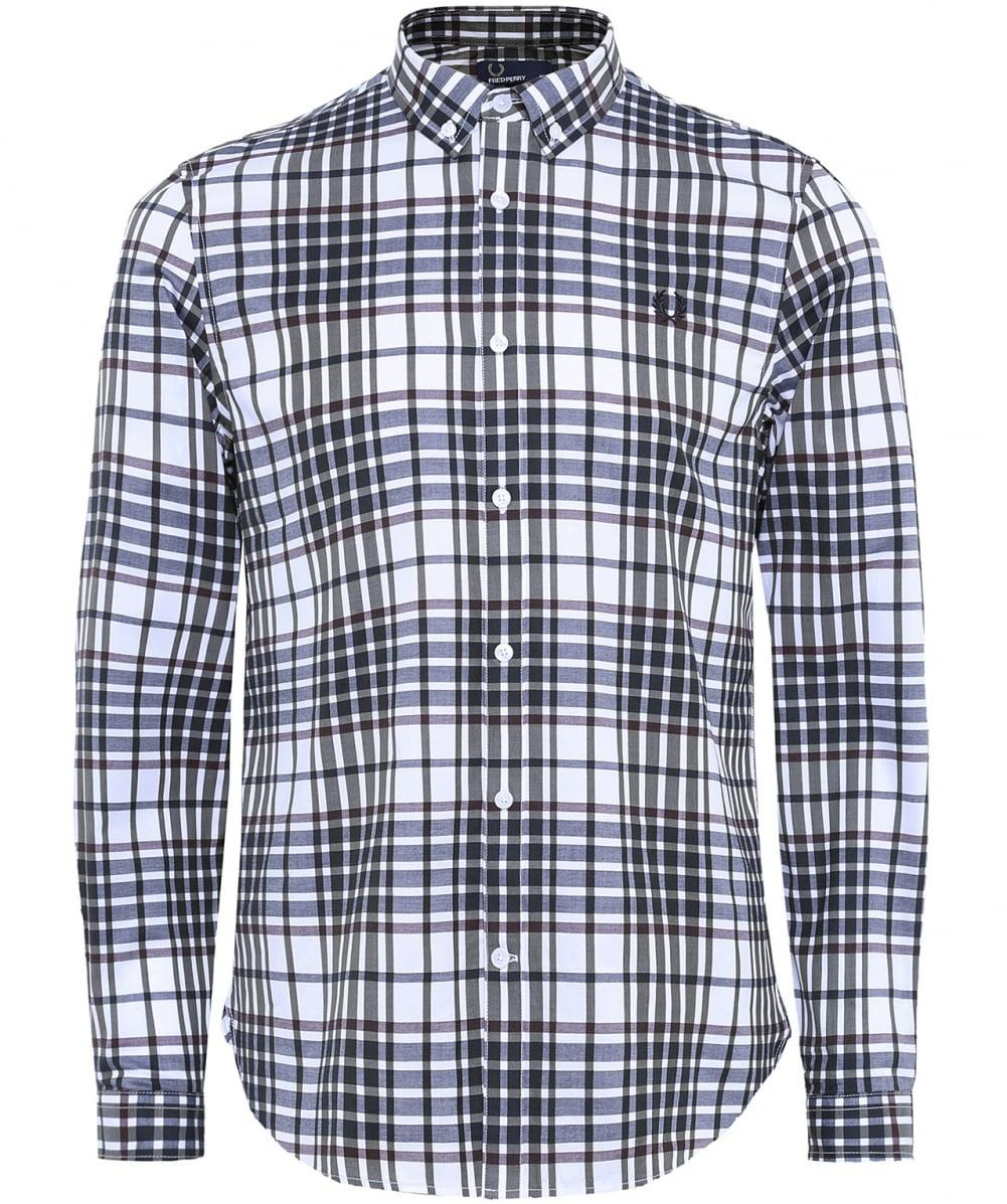 Fred Perry Cotton Slim Twill Check Shirt Buttondown In White for Men