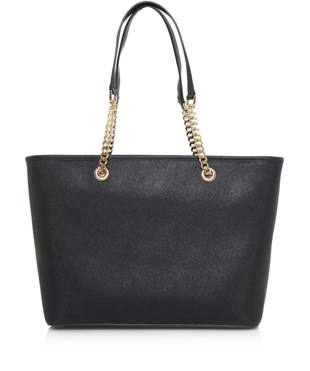 MICHAEL Michael Kors Leather Jet Set Chain Tote Bag in Black