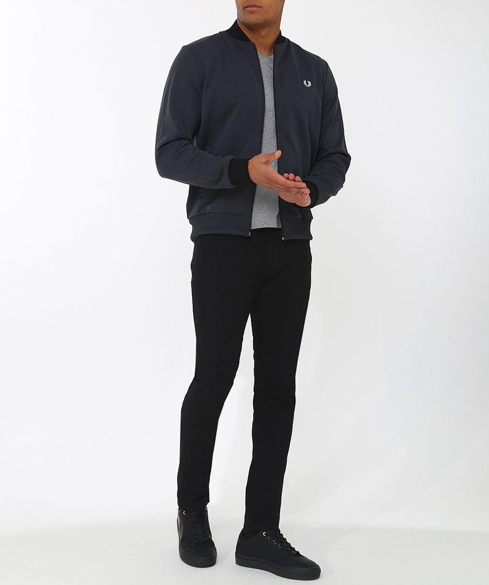 Fred Perry Fleece Tipped Bomber Track Jacket in Charcoal (Grey) for Men