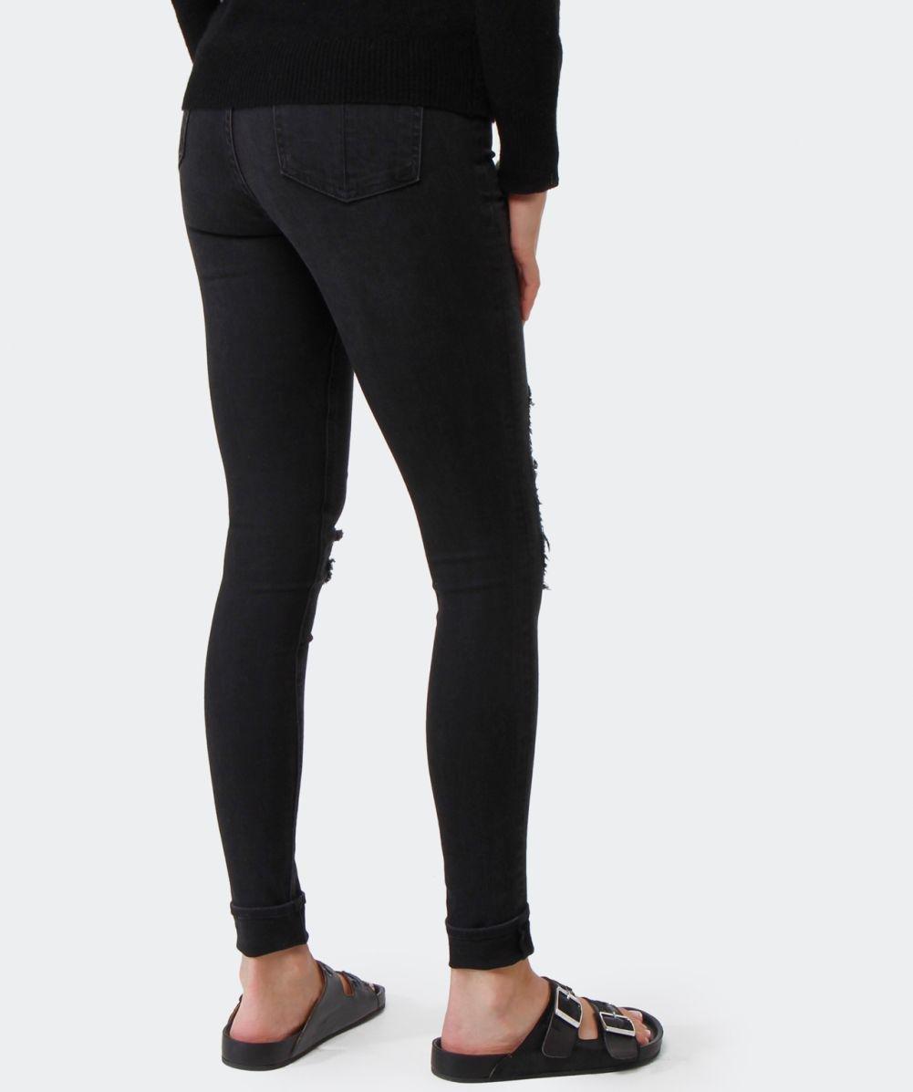 Rag & Bone High Rise Ripped Jeans in Black
