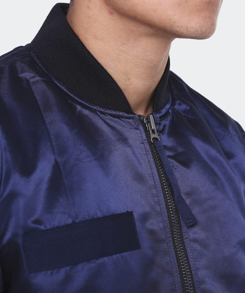 True Religion Synthetic Solid Bomber Jacket in Blue for Men