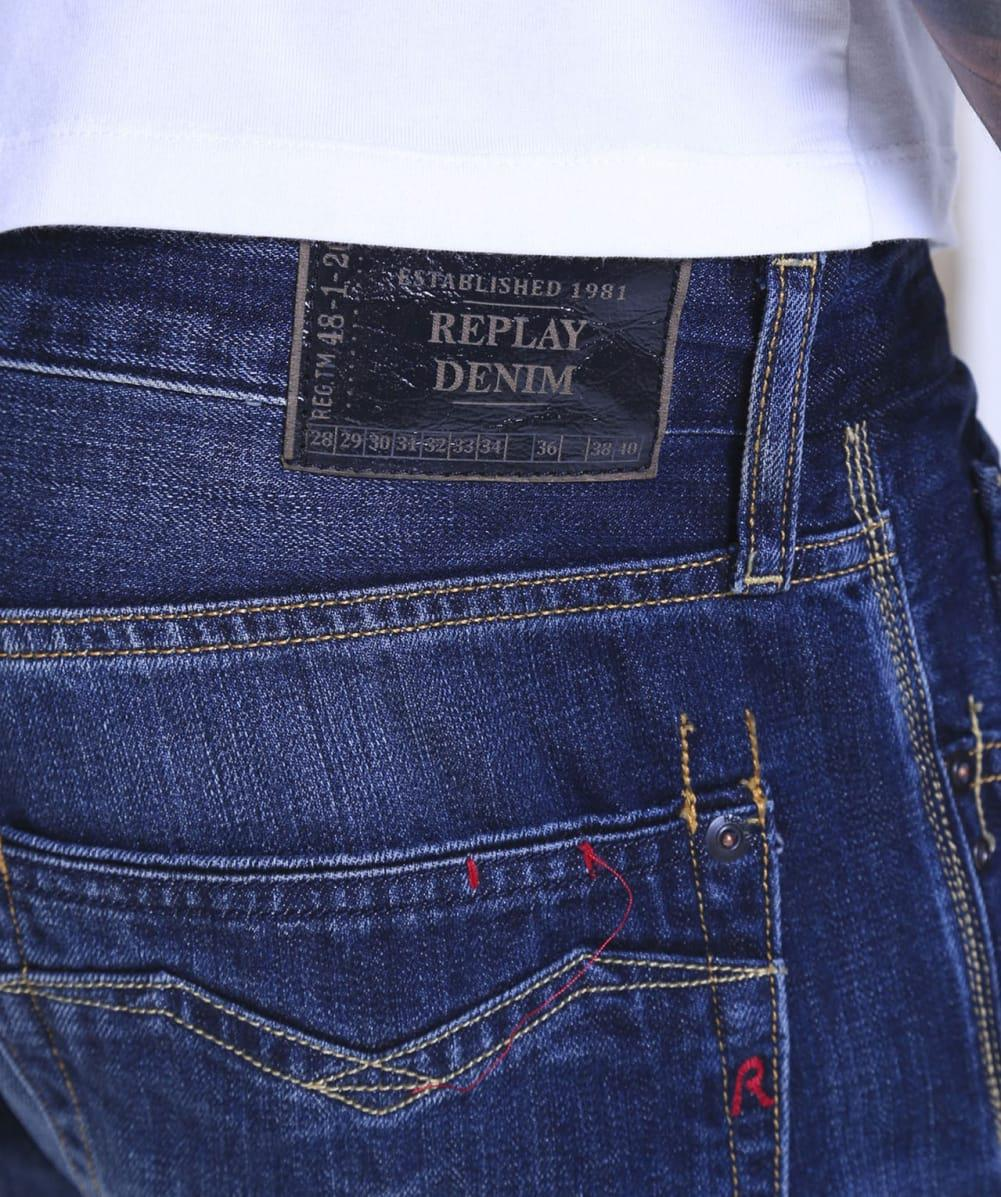 Replay Comfort Fit Dark Wash Newbill Jeans in Blue for Men