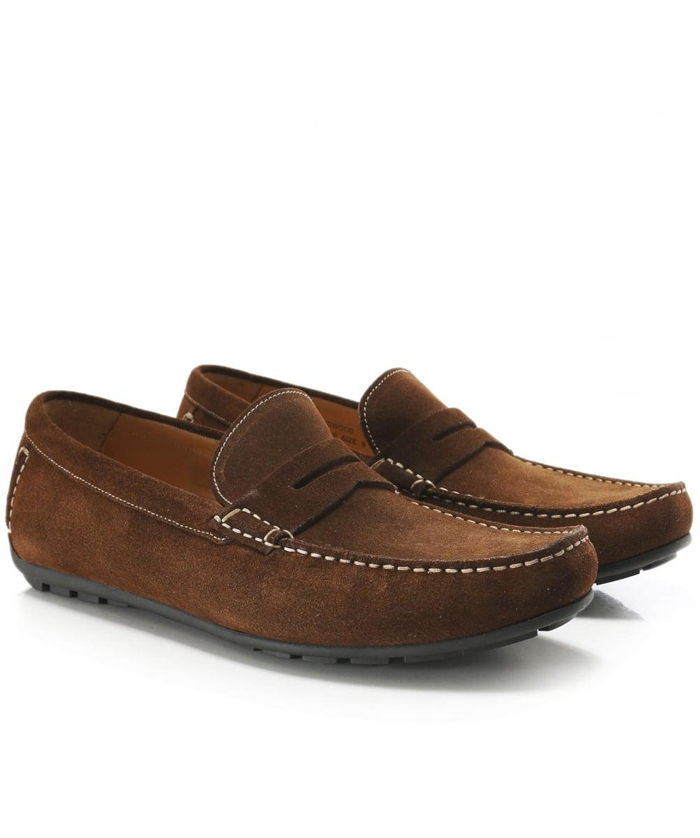 dd5609cad0e Loake Suede Goodwood Penny Loafers in Brown for Men - Lyst