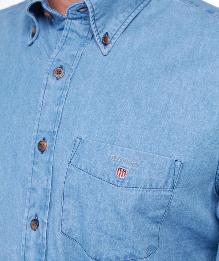 d0315274daa GANT Indigo Denim Shirt in Blue for Men - Lyst