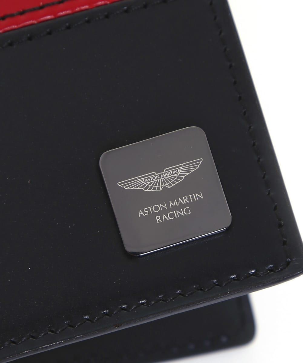 Hackett Leather Aston Martin Racing Card Wallet In Black