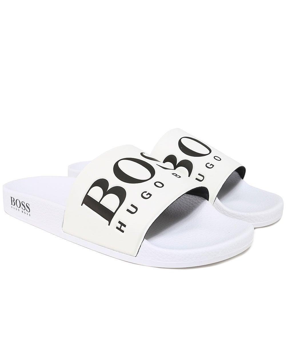 1d43d524e BOSS - White Logo Pool Slides for Men - Lyst. View fullscreen