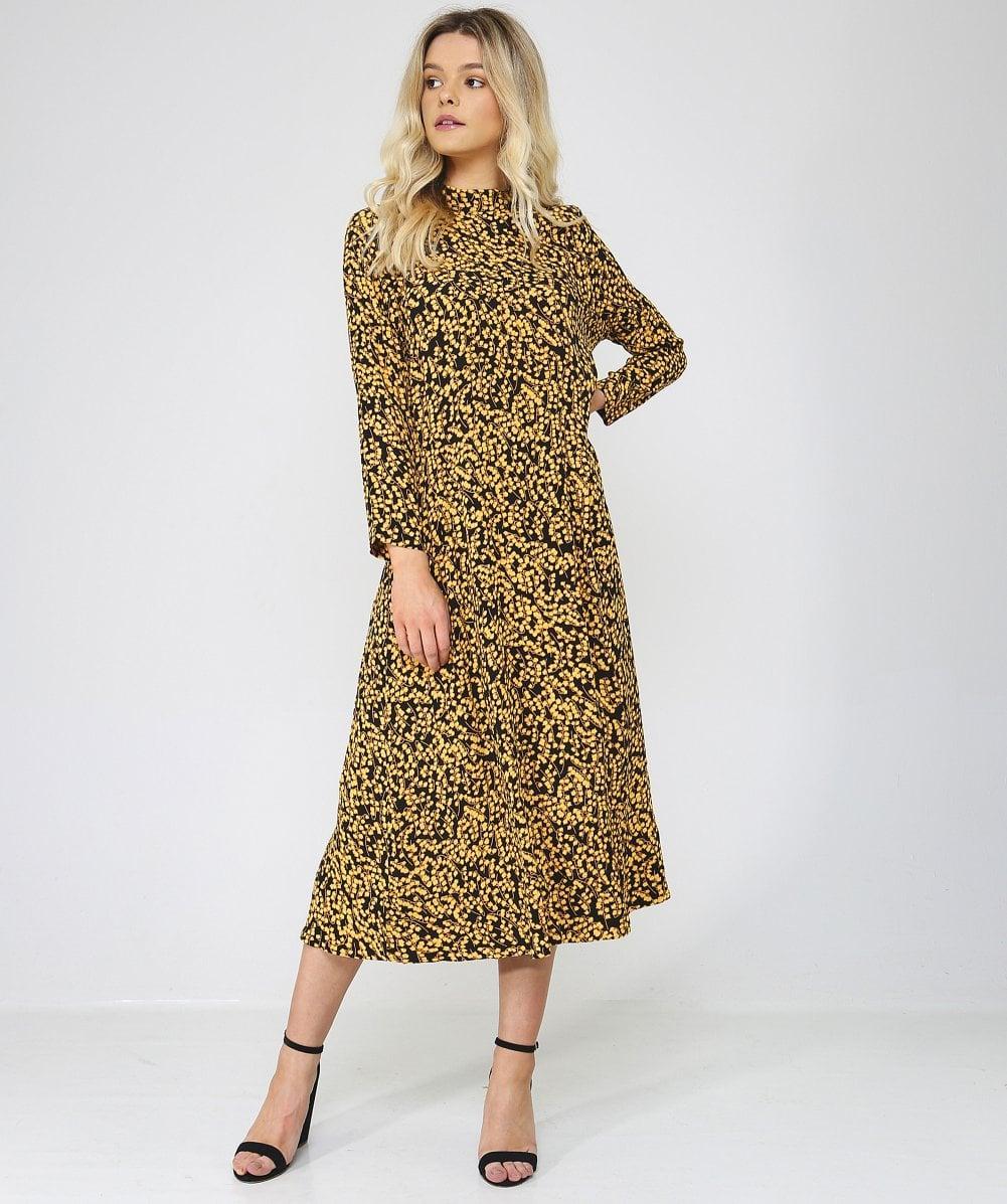aa003faa381c Lyst - Ganni Goldstone Floral Print Crepe Dress in Black - Save 17%