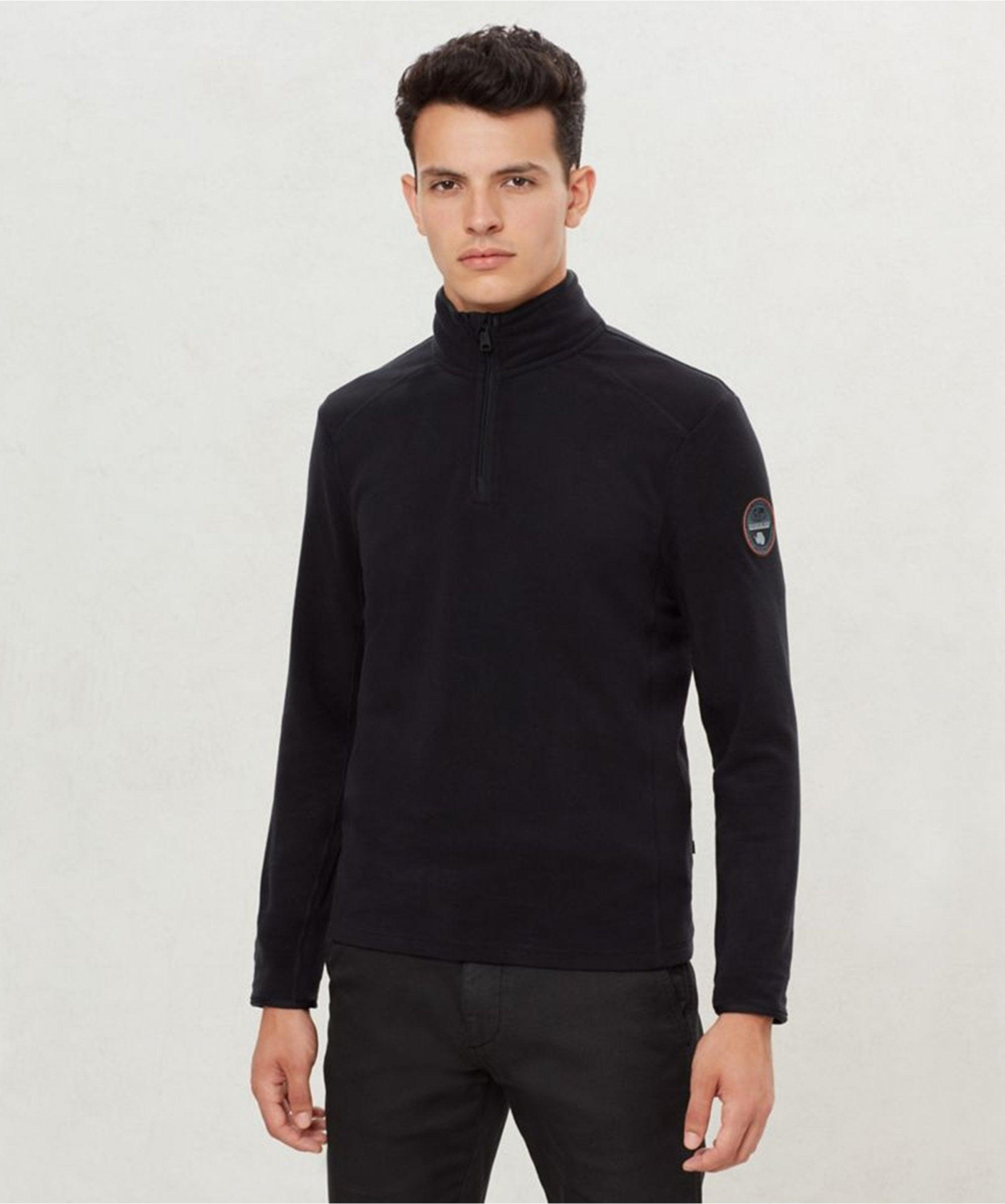 Black All Sizes Napapijri Tambo Half Zip Mens Jumper