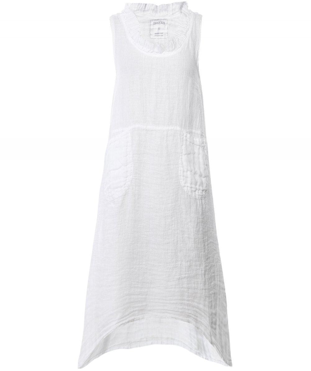 Grizas Linen Sleeveless Flared Dress In White Lyst