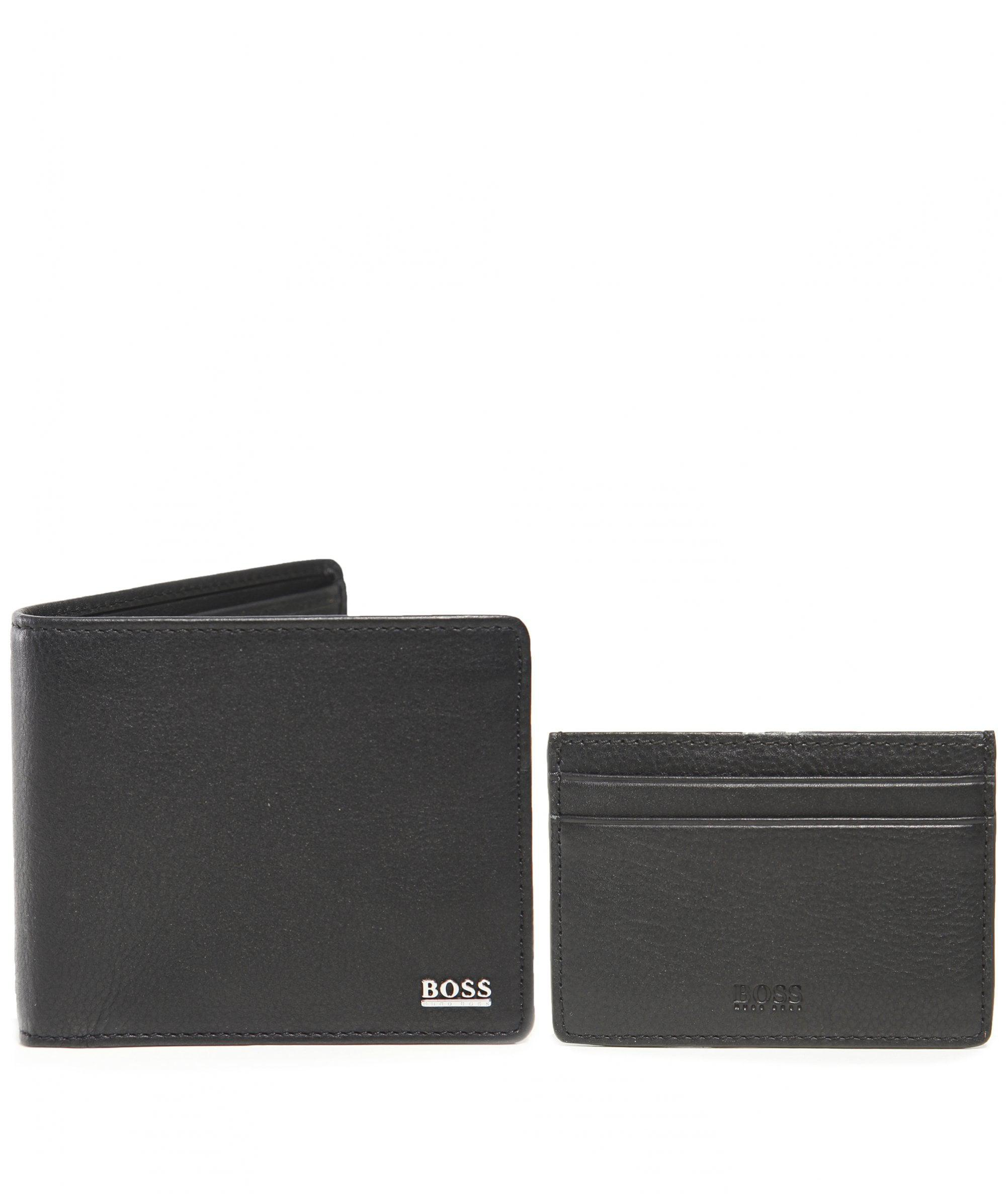 9fc418ee224 BOSS - Black Leather Wallet And Card Holder Gift Set for Men - Lyst. View  fullscreen