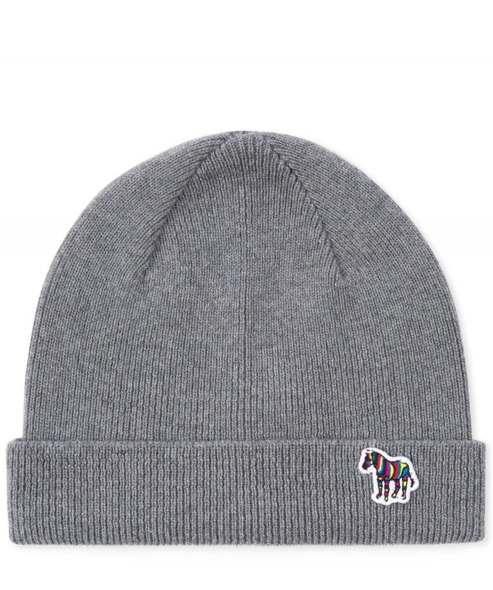 8e9d16d992d Paul Smith Grey  zebra  Logo Ribbed Lambswool Beanie Hat in Gray for ...
