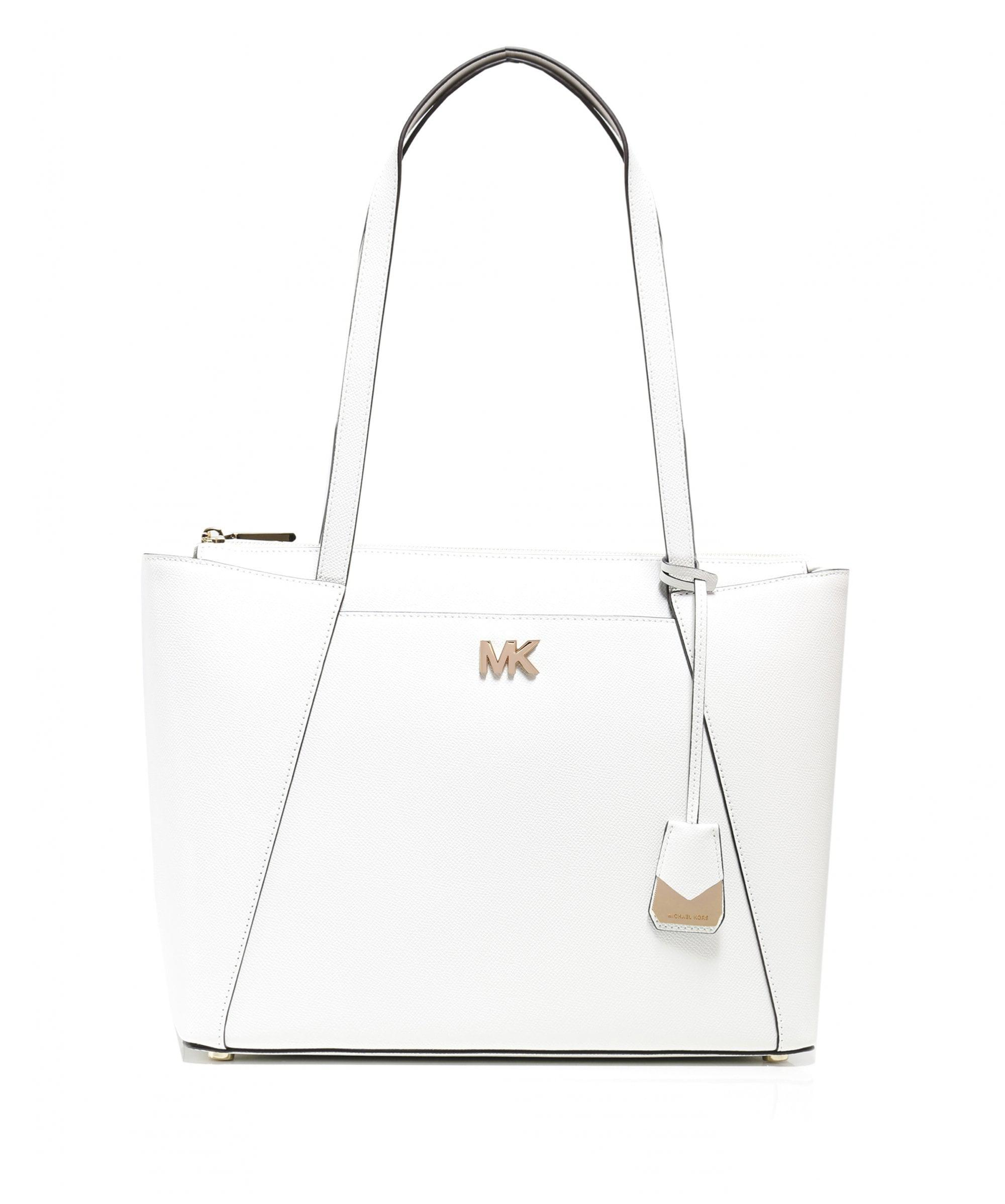 c6ed15cc069b MICHAEL Michael Kors Maddie Medium Leather Tote Bag in White - Lyst