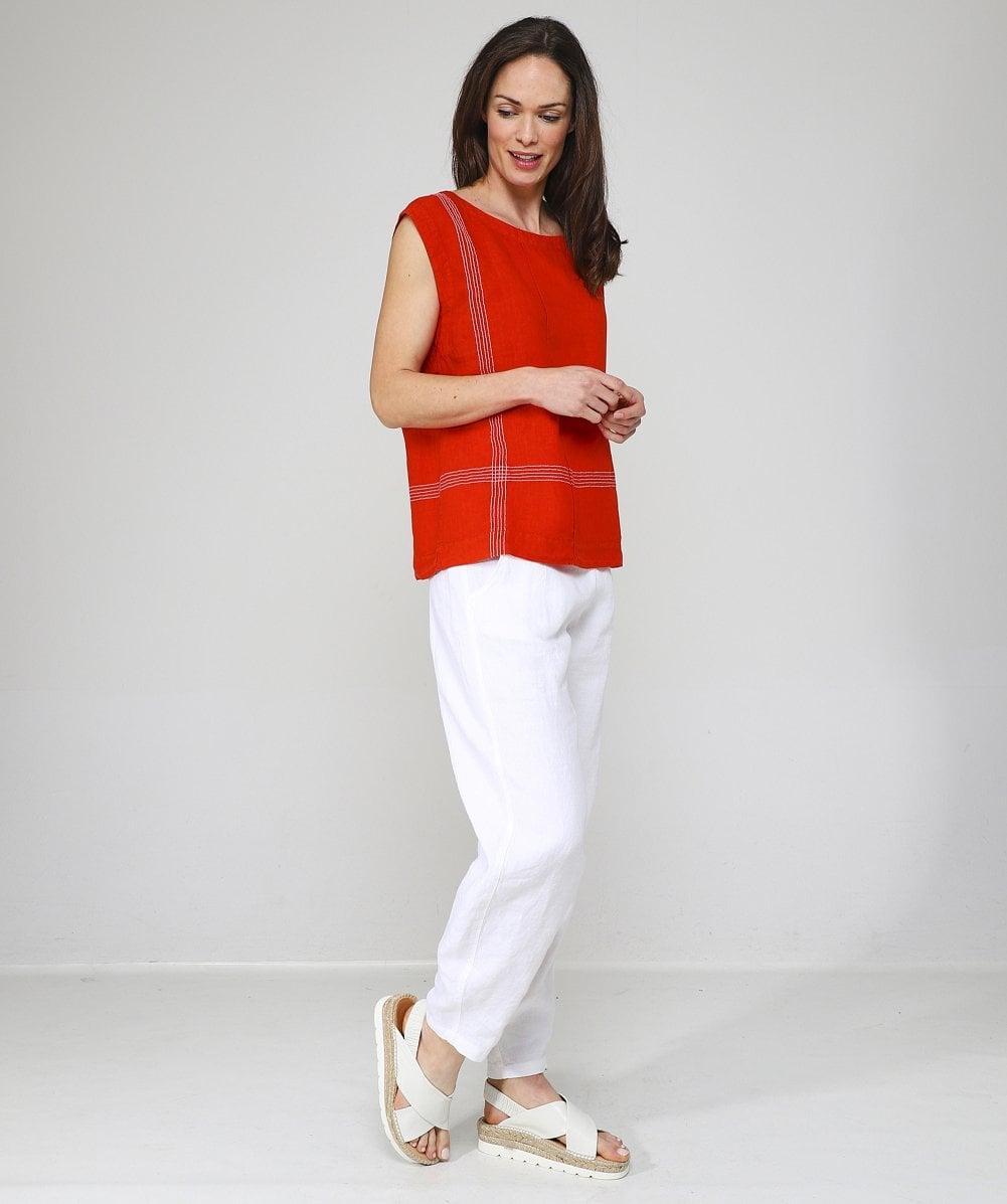 Linen Tolina Contrast Stitch Top Oska en coloris Orange