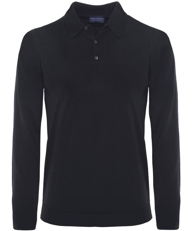 0fee3f8c John Smedley Dorset Merino Long Sleeve Polo Shirt in Black for Men ...