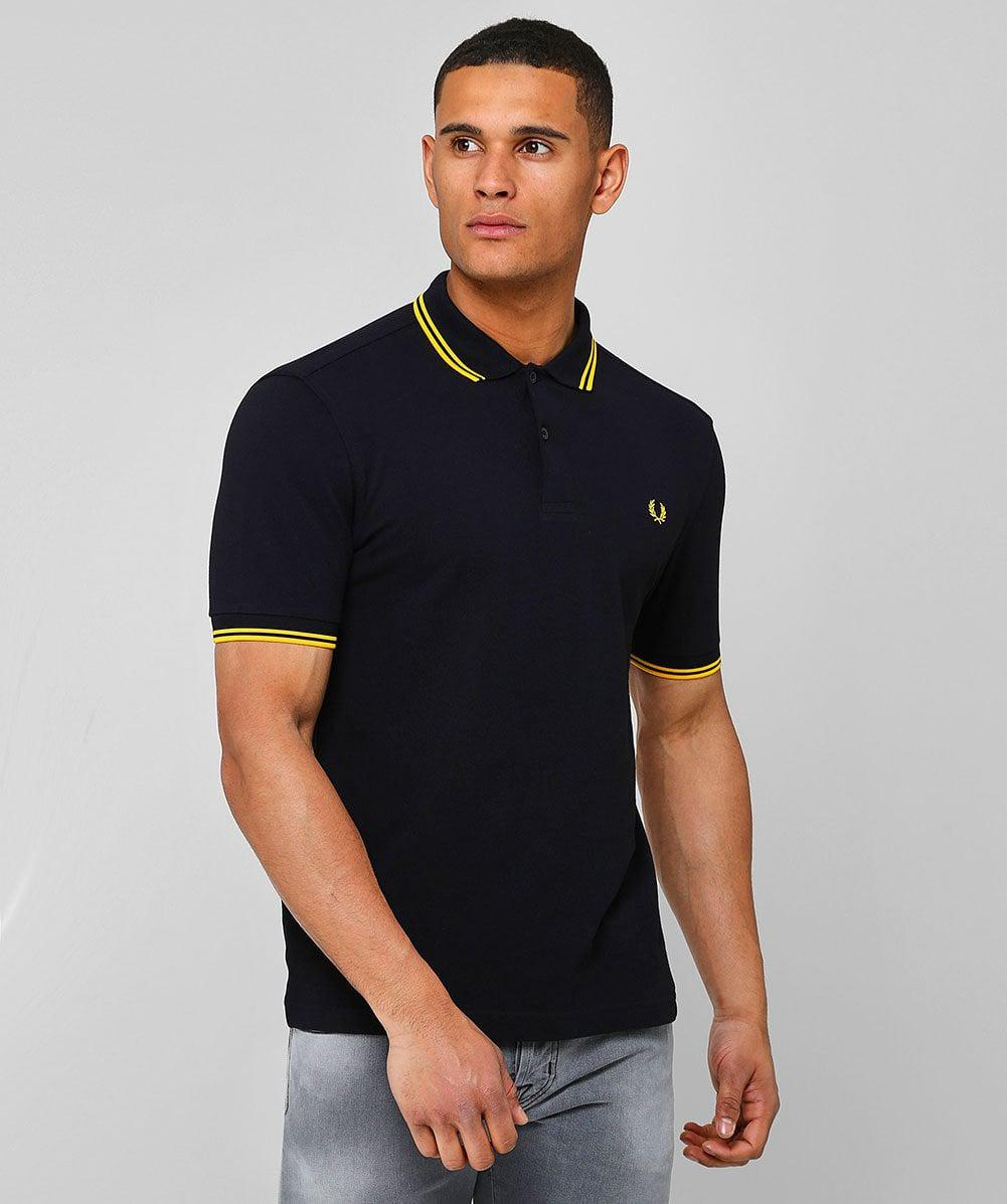 4e86d4e1 Fred Perry Twin - Tipped Slim Fit Polo Shirt in Black for Men - Save 26% -  Lyst