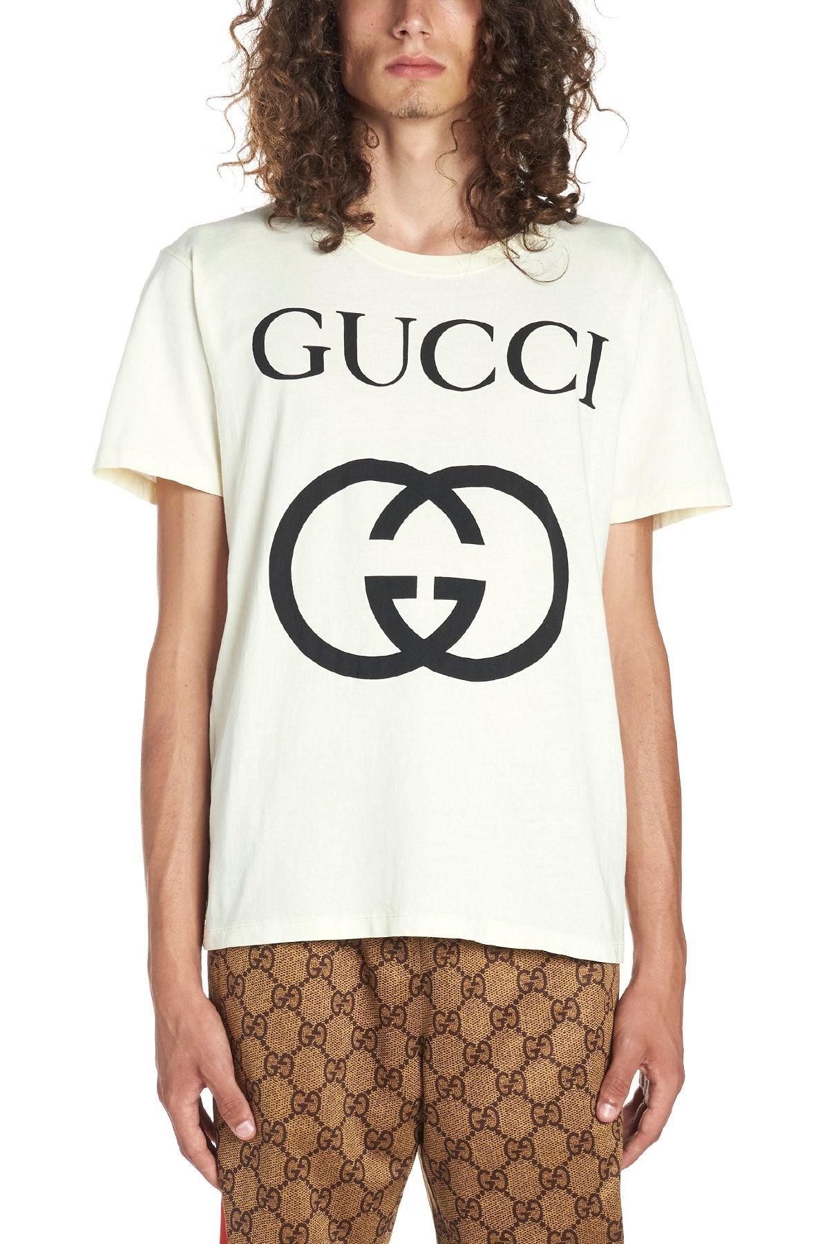 9faf2613f Gucci 'interlocking G' T-shirt in White for Men - Lyst