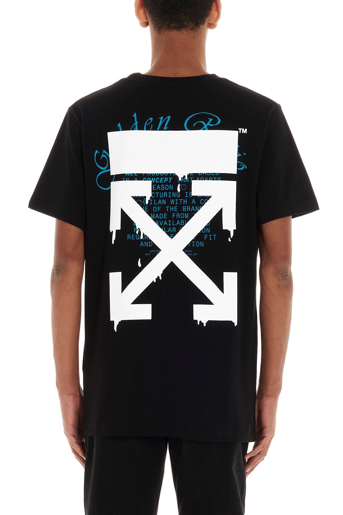 Unisex Off White C//O Virgil Abloh Casual Cotton Short Sleeve Arrow Print T-shirt