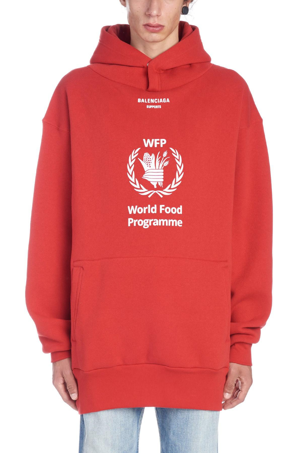 Balenciaga Cotton World Food Programme Hoodie In Red White Red For Men Lyst