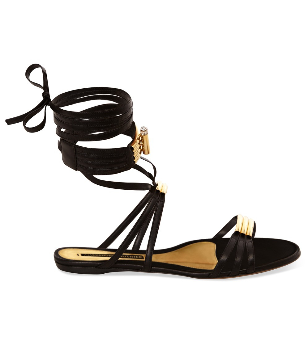 alexandre vauthier black strappy flat in black lyst