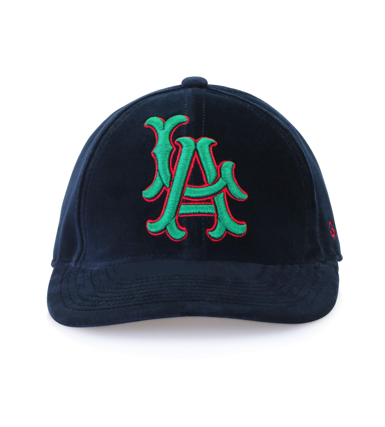 6995c9d7 Gucci Dark Blue Runway Baseball Hat With La Angelstm Patch in Blue ...