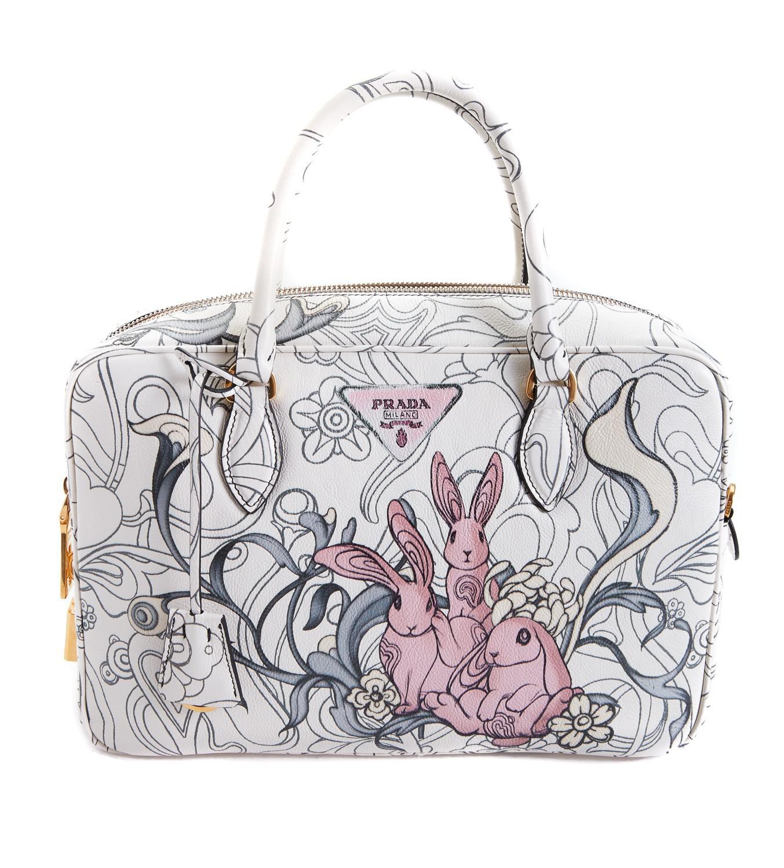 cd49382300b4 Lyst - Prada Woodland Rabbit Handbag in White