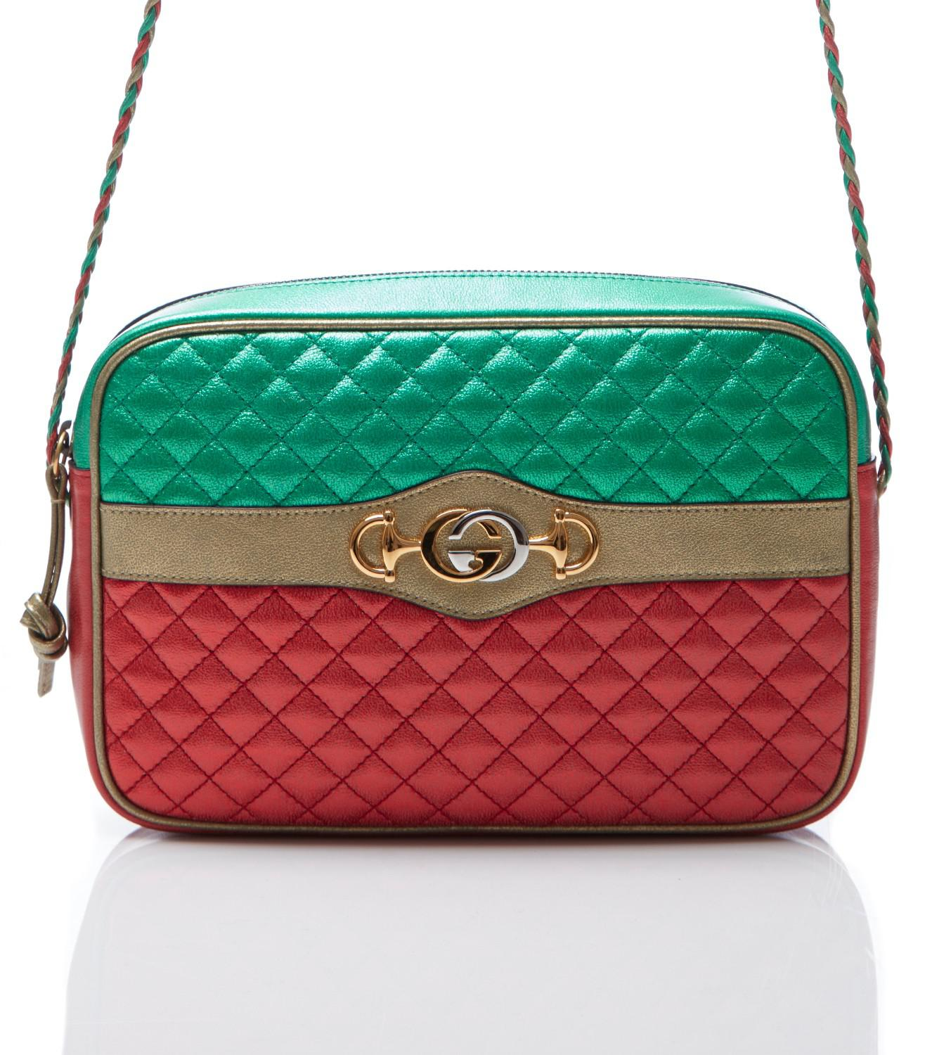 Gucci Women S Red Green Laminated Quilted Handbag