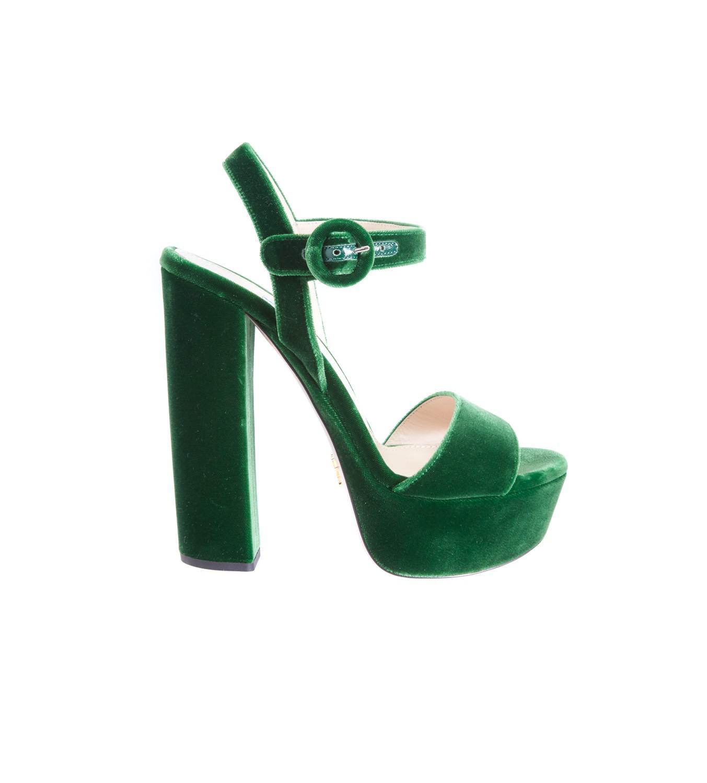 Prada Green Velvet Platform Heels - Lyst