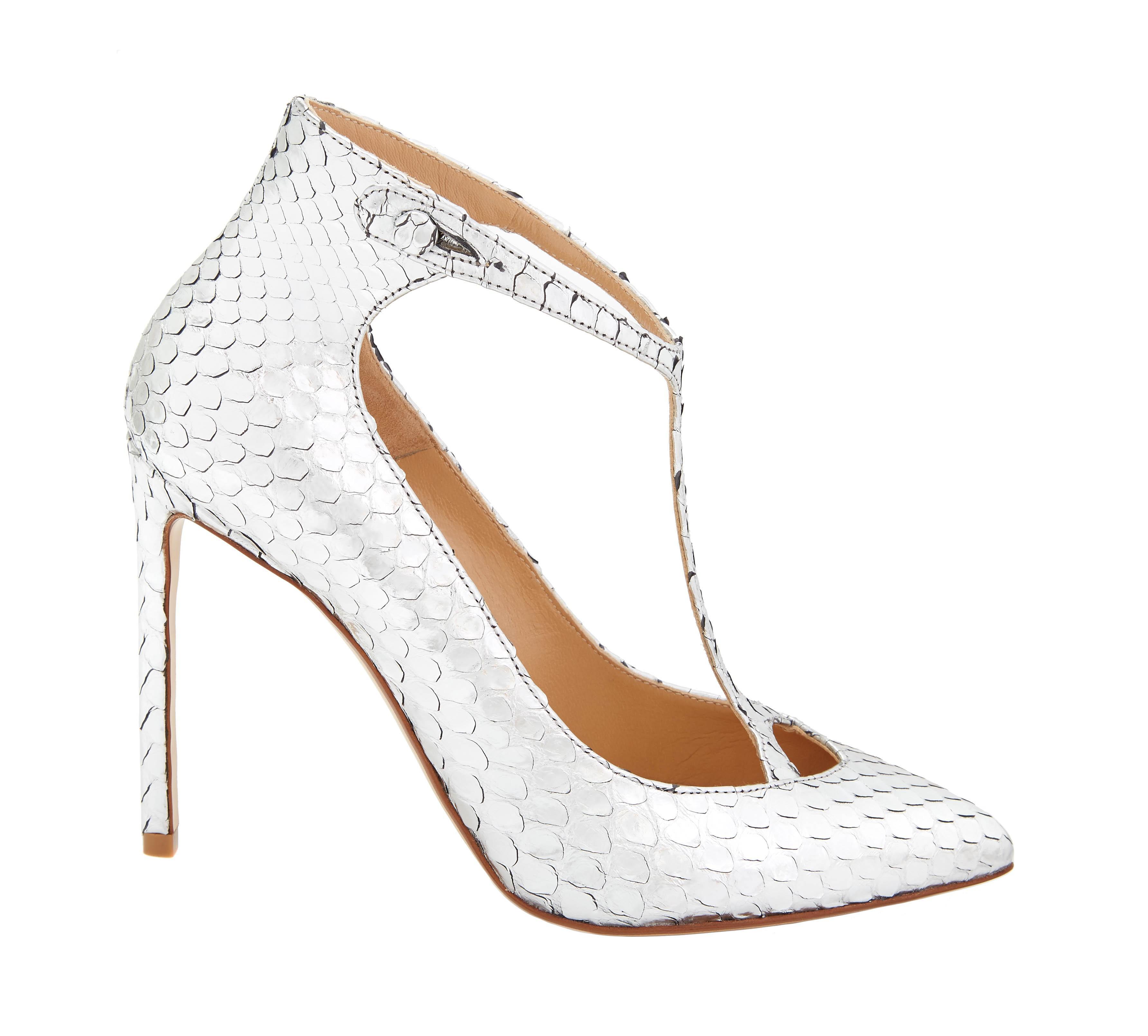 16c0c8bb0c5 Lyst - Francesco Russo Anaconda Skin Silver T Bar Heels in Metallic