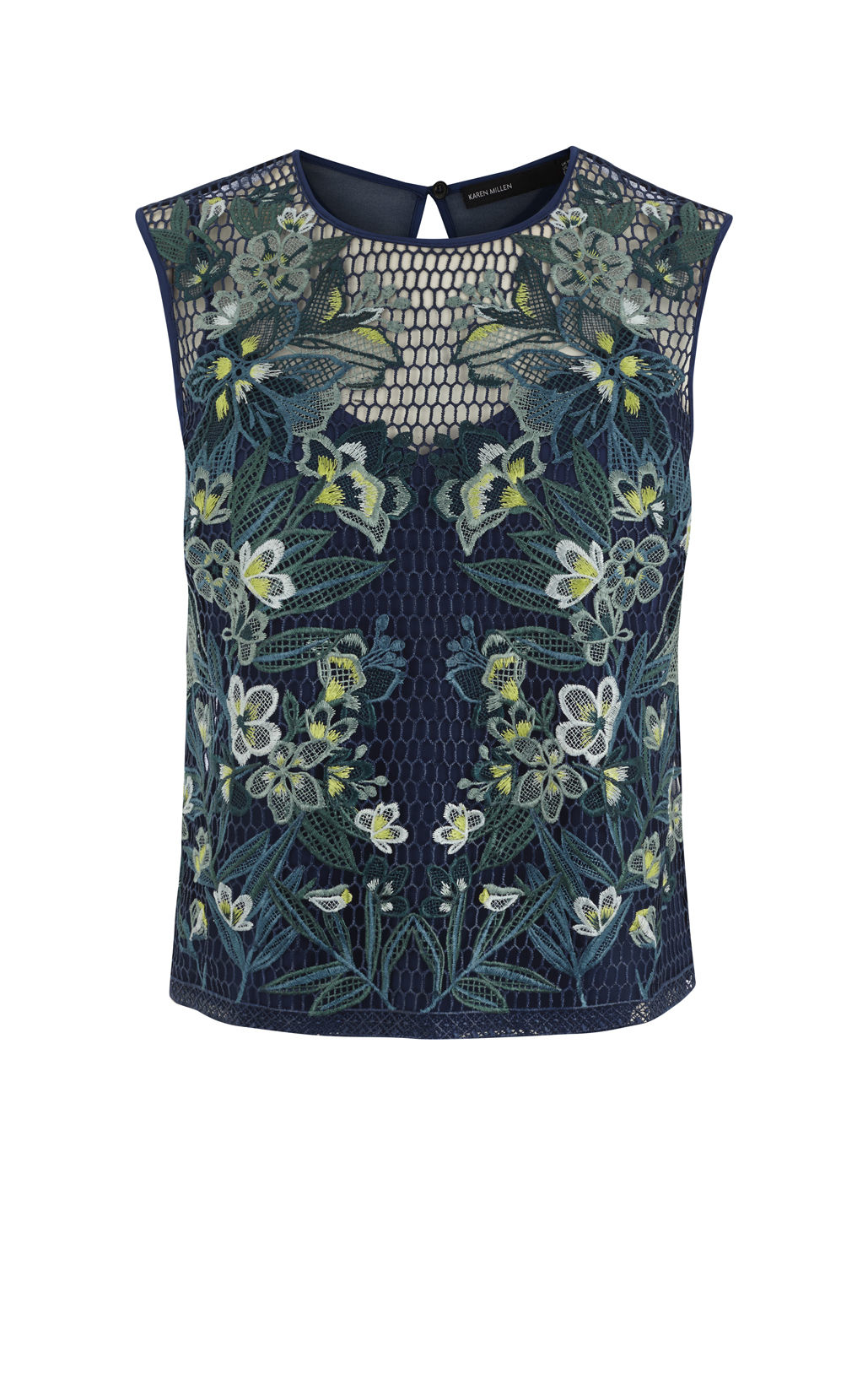 Karen Millen Embroidered Lace Top In Blue BlueMulti
