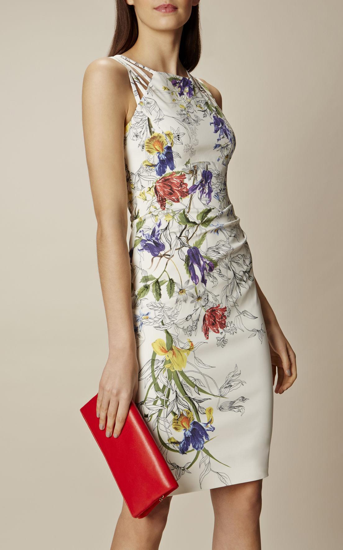Lyst Karen Millen White Amp Floral Pencil Dress