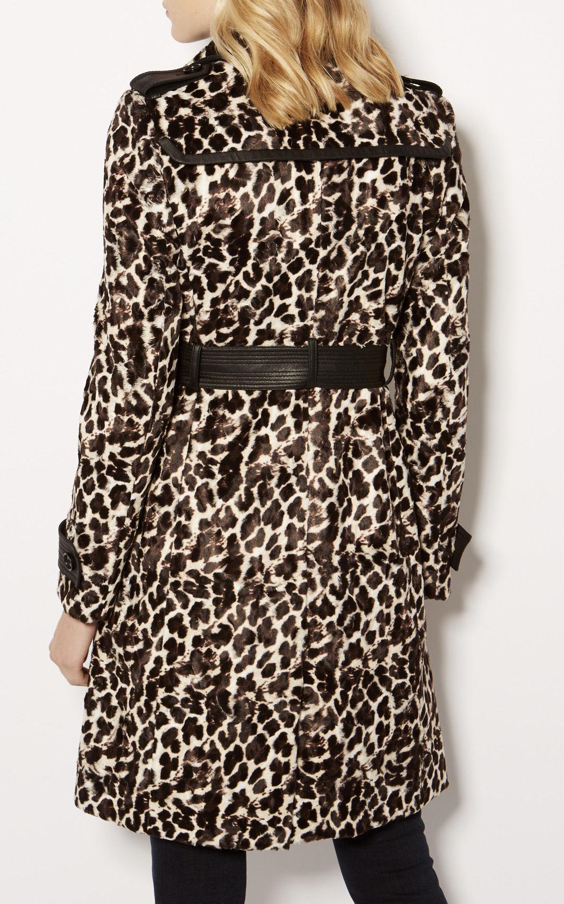 Lyst Karen Millen Leopard Print Coat In Black