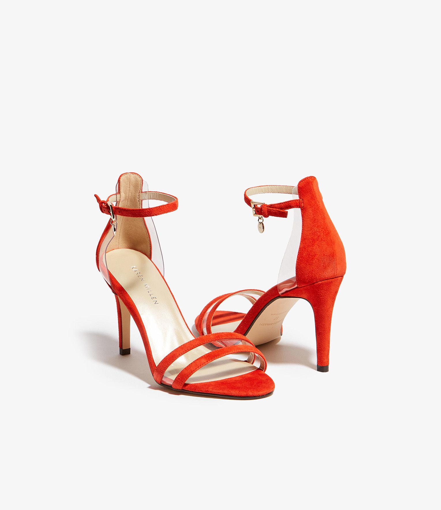 0e764c0ea3c Karen Millen - Orange Suede Heeled Sandals - Lyst. View fullscreen