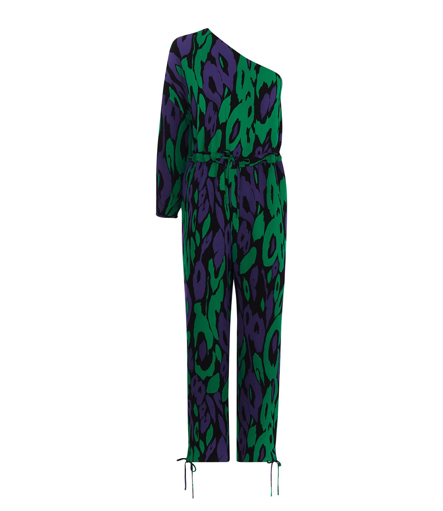 12e2434014a Lyst - Karen Millen Animal Print Jumpsuit in Green