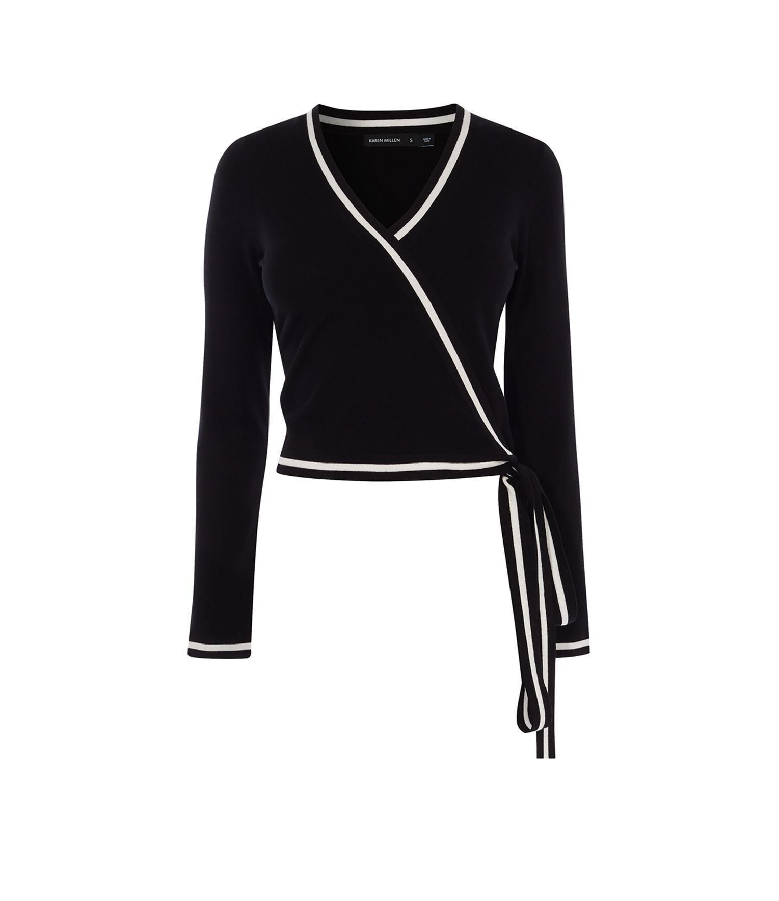 Lyst Karen Millen Wrap Knit Top In Black