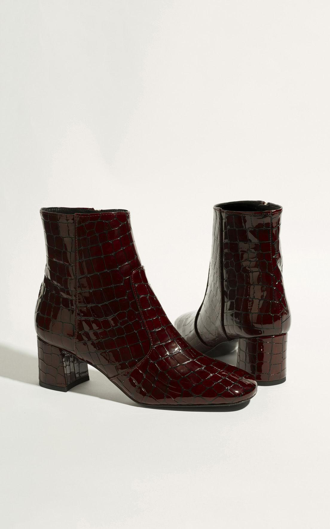d9b99de501441 Karen Millen Leather Crocodile Ankle Boots - Dark Red in Red - Lyst