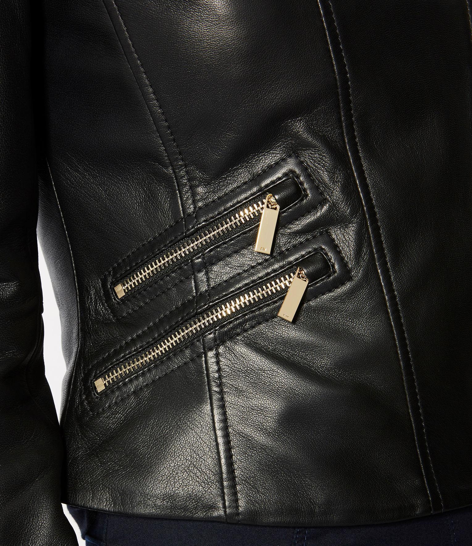 6cfb1d91c Karen Millen Black Leather Jacket Gold Trims