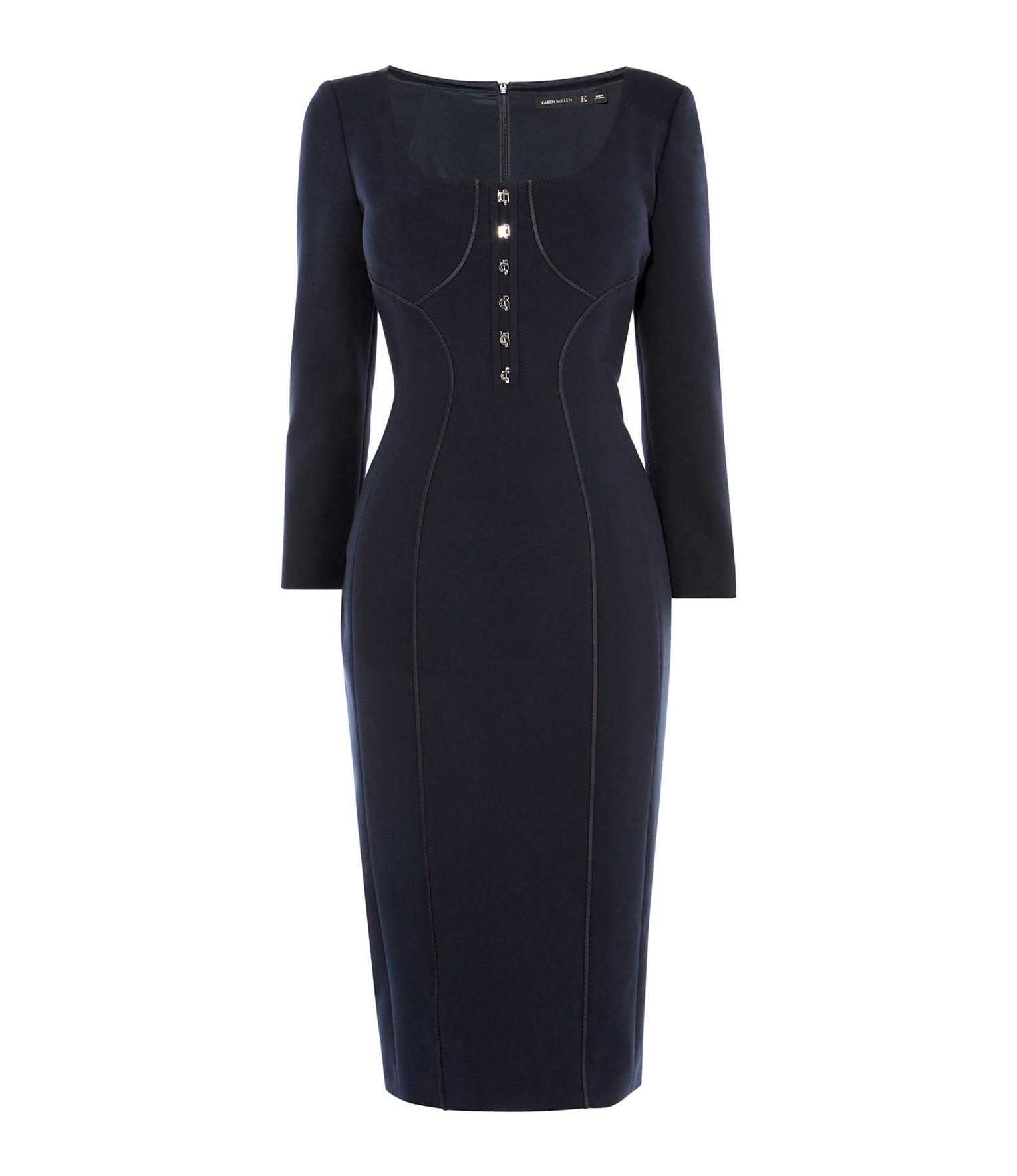 437768f616 Karen Millen - Blue Contour-panelling Pencil Dress - Lyst. View fullscreen