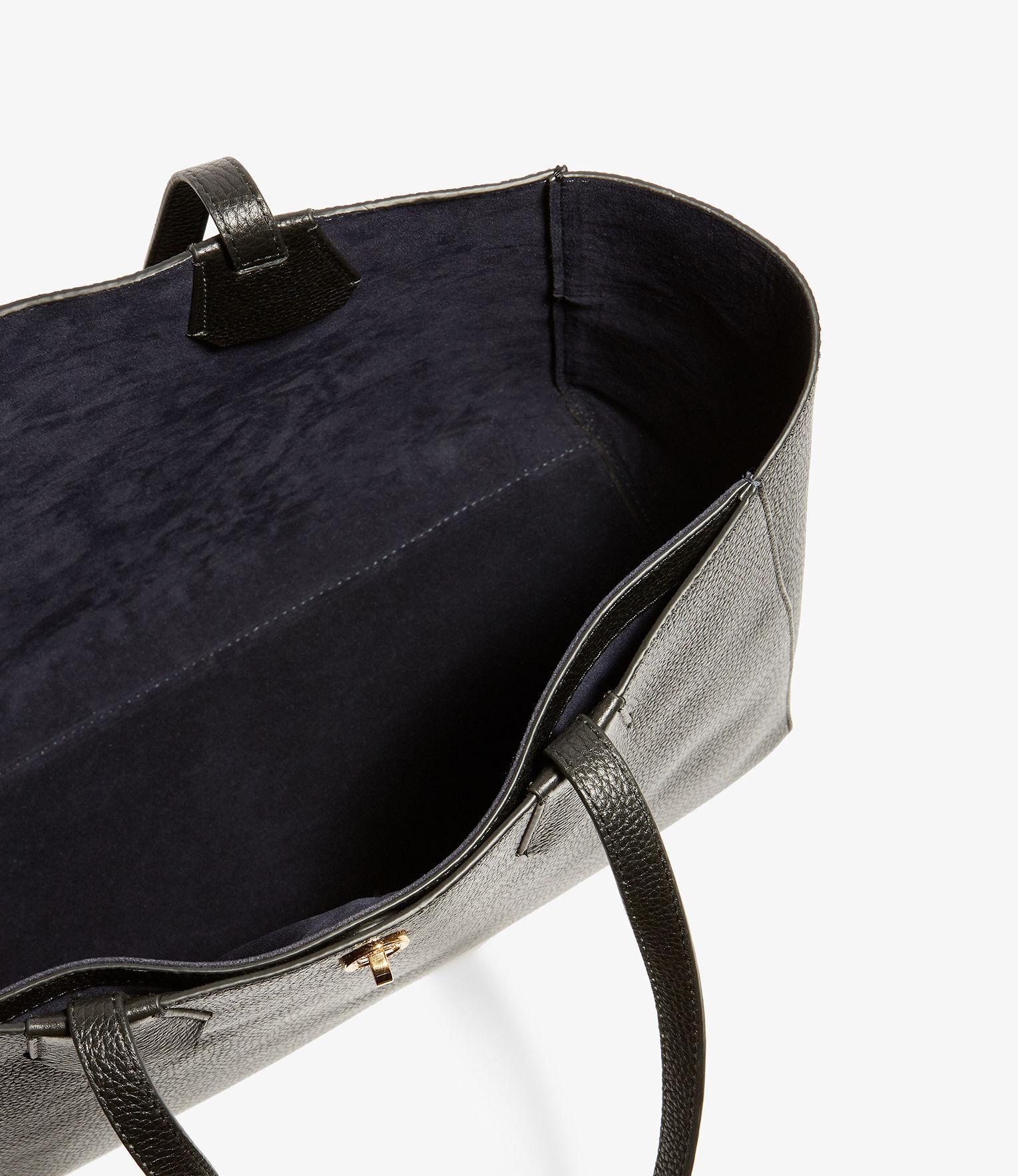 Karen Millen Leather East West Tote Bag in Black