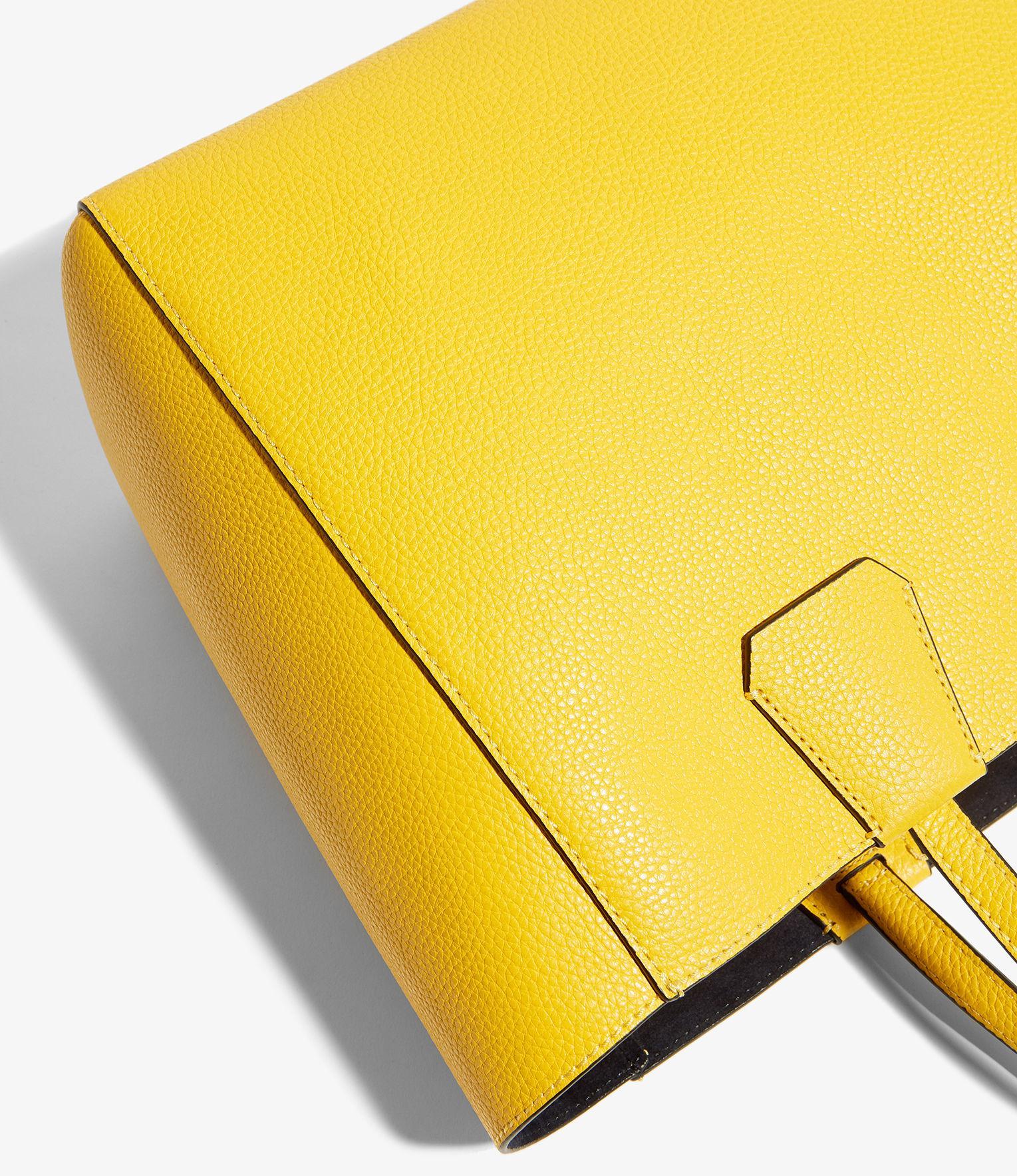 Karen Millen Leather East West Tote Bag in Yellow