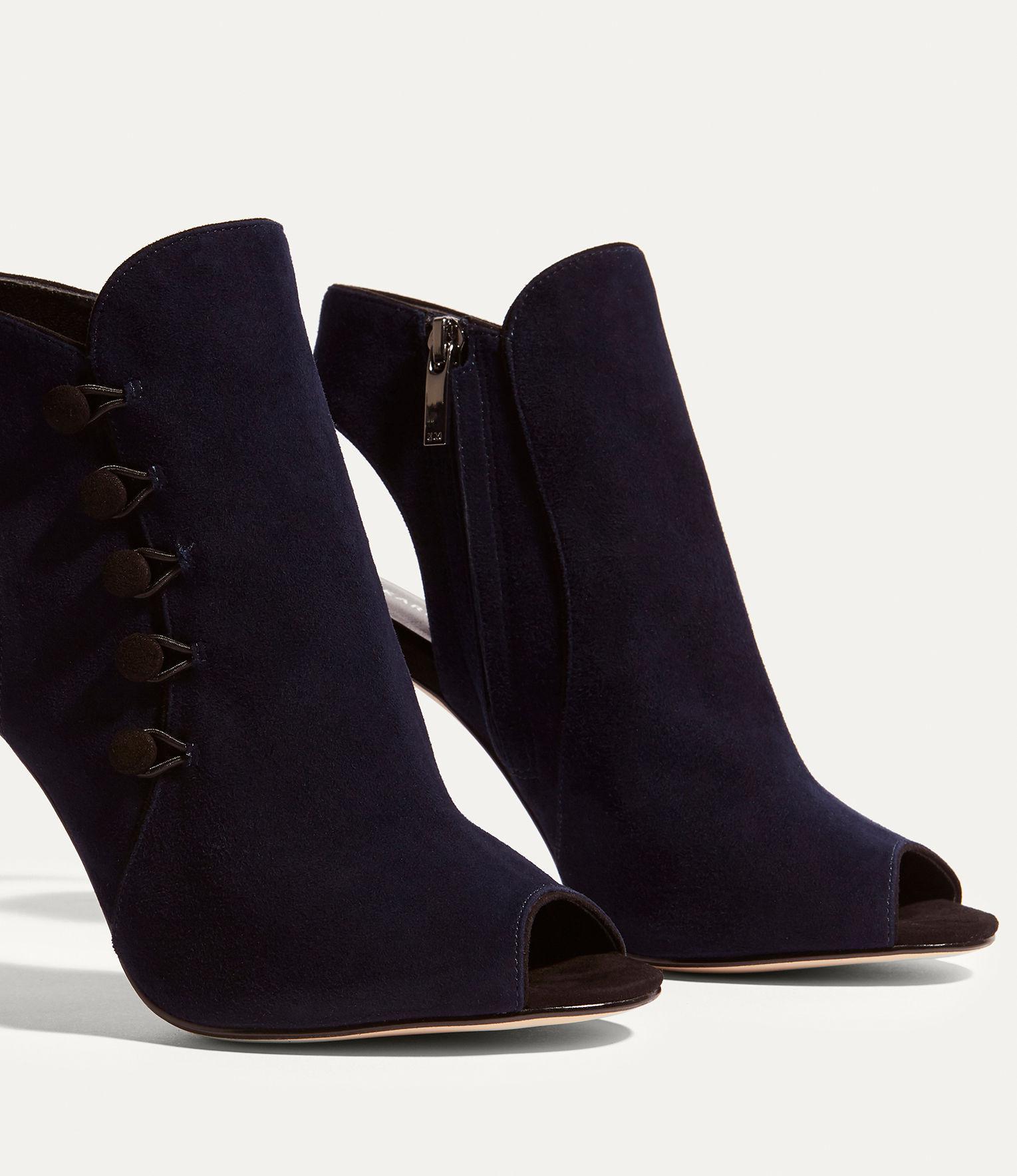 Karen Millen Leather Button Heel Shoe Boots - Navy in Blue