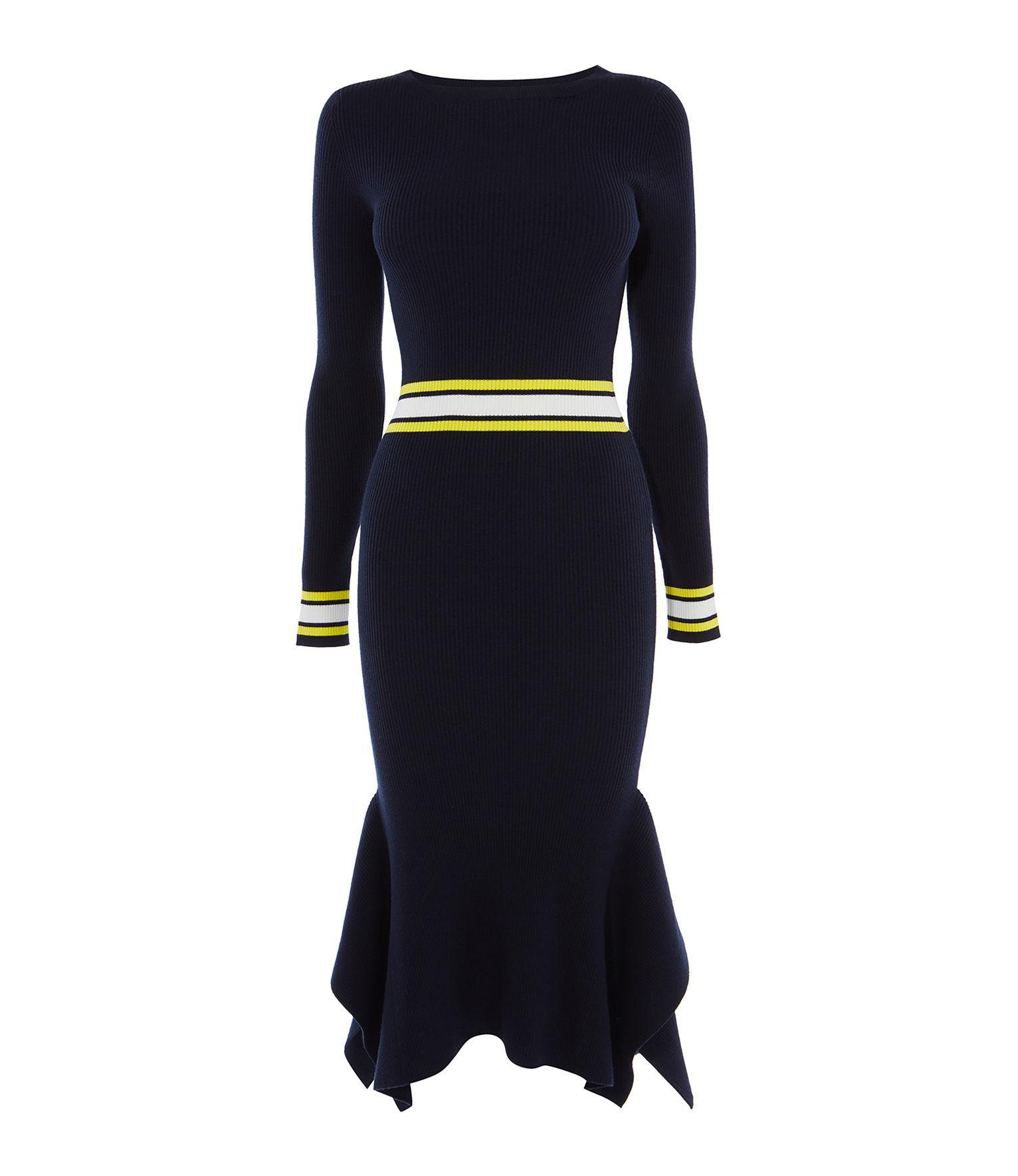 31c44a278d Lyst - Karen Millen Frill Hem Knitted Dress in Blue