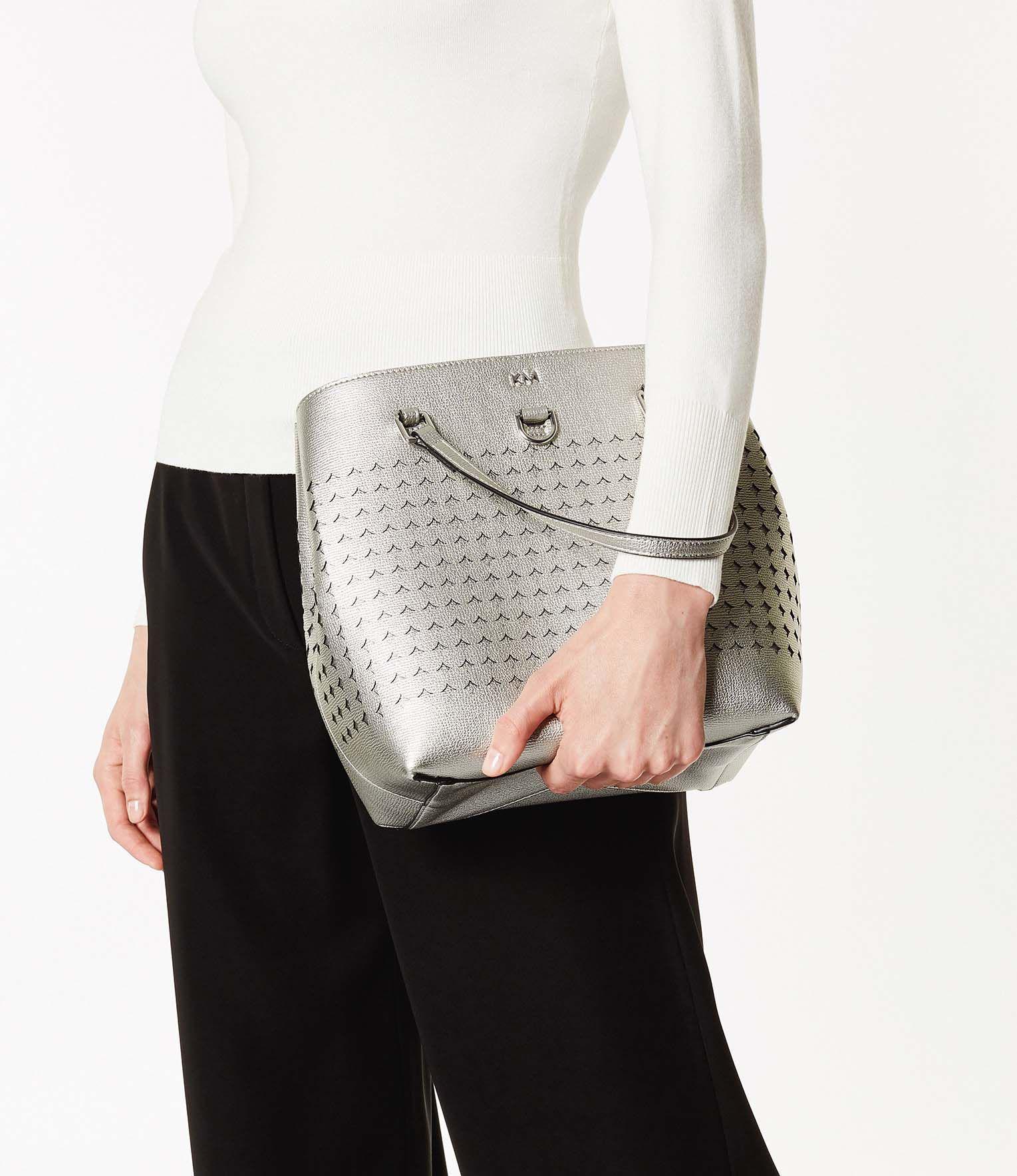 Karen Millen Perforated Mini Tote Bag in Grey (Grey)