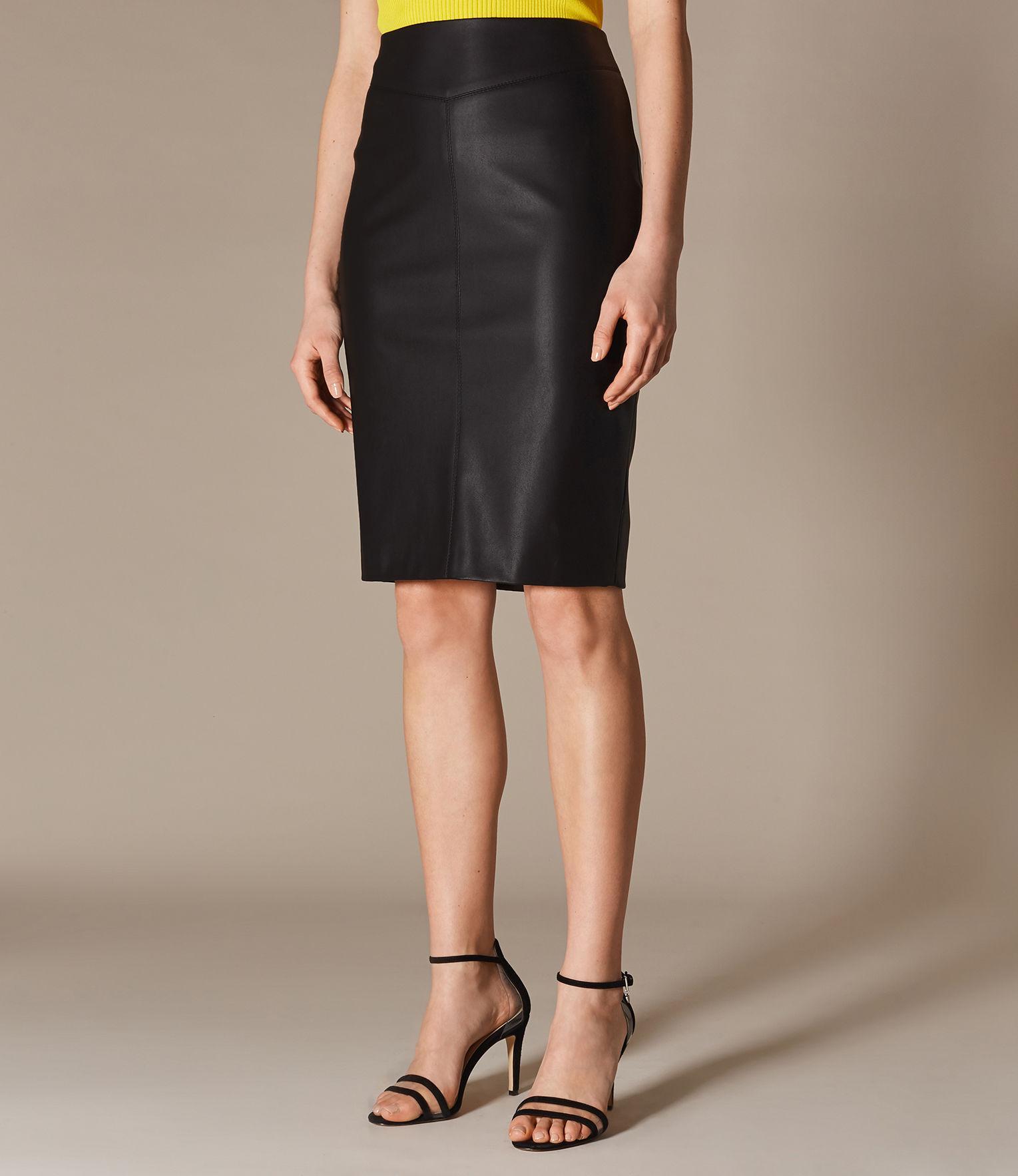 2cd1effe4 Karen Millen - Black Faux Leather Skirt - Lyst. View fullscreen