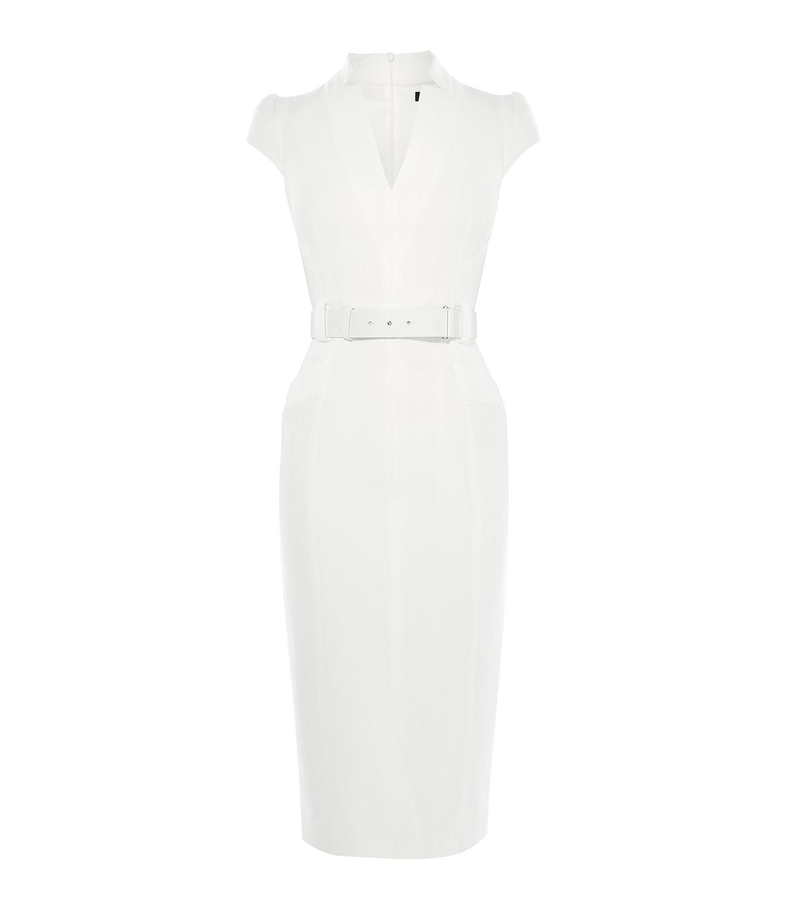 871246917ac40 Karen Millen Tailored Belted Pencil Dress in White - Lyst