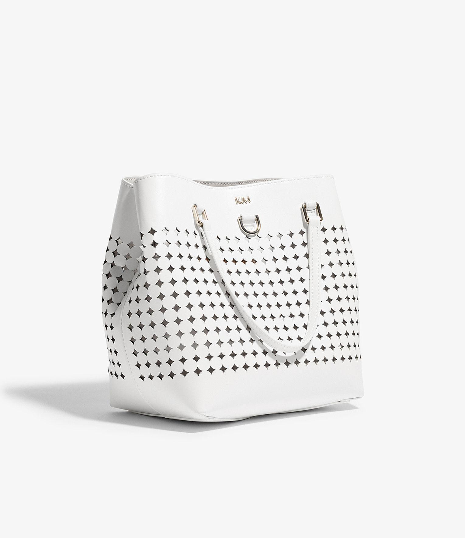 Karen Millen Leather Perforated Mini Tote Bag in White