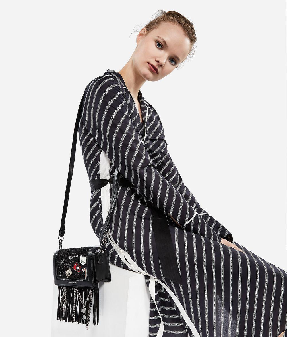 Karl Lagerfeld Leather K/klassik Pins Crossbody Bag in Black