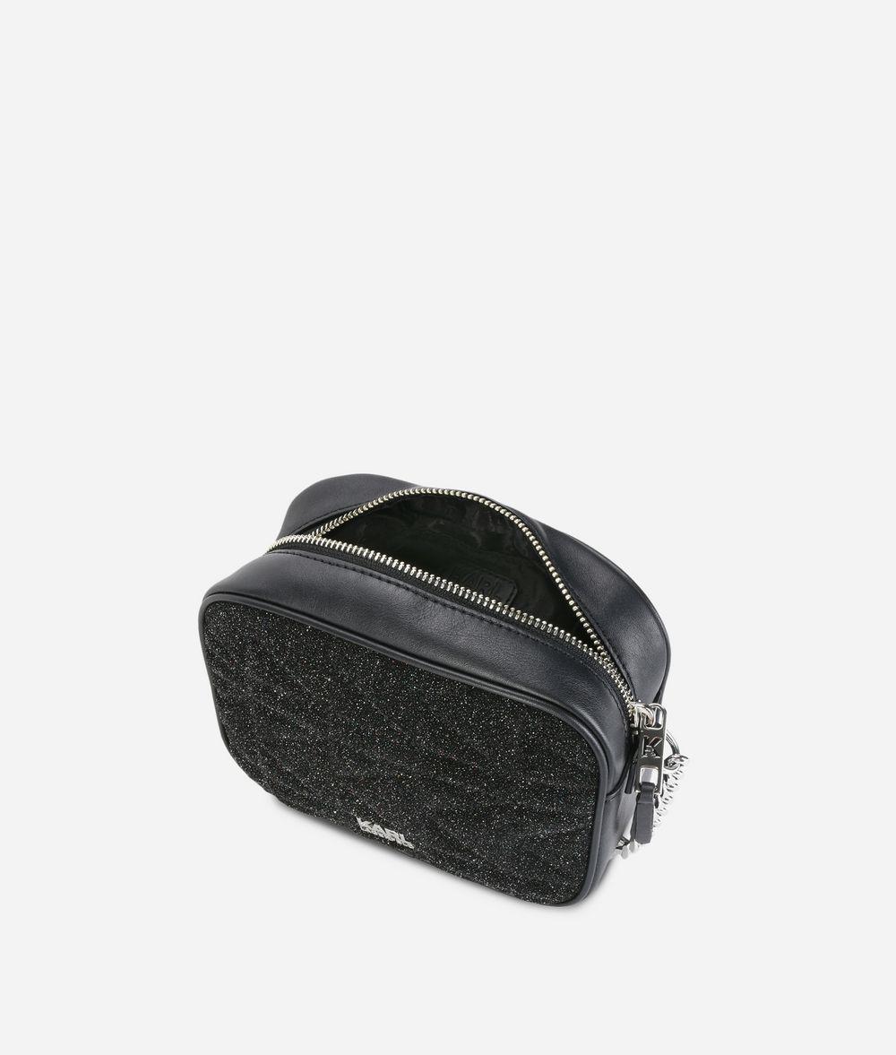 Karl Lagerfeld Suede K/kuilted Caviar Crossbody in Black